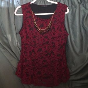 Deep red lace dressy tank w/ black lining XL